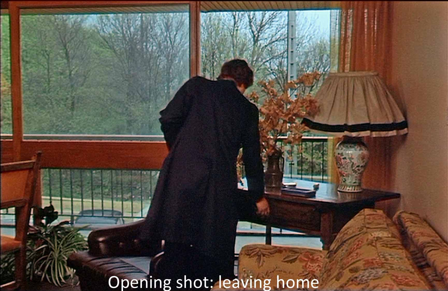 Opening shot: leaving home