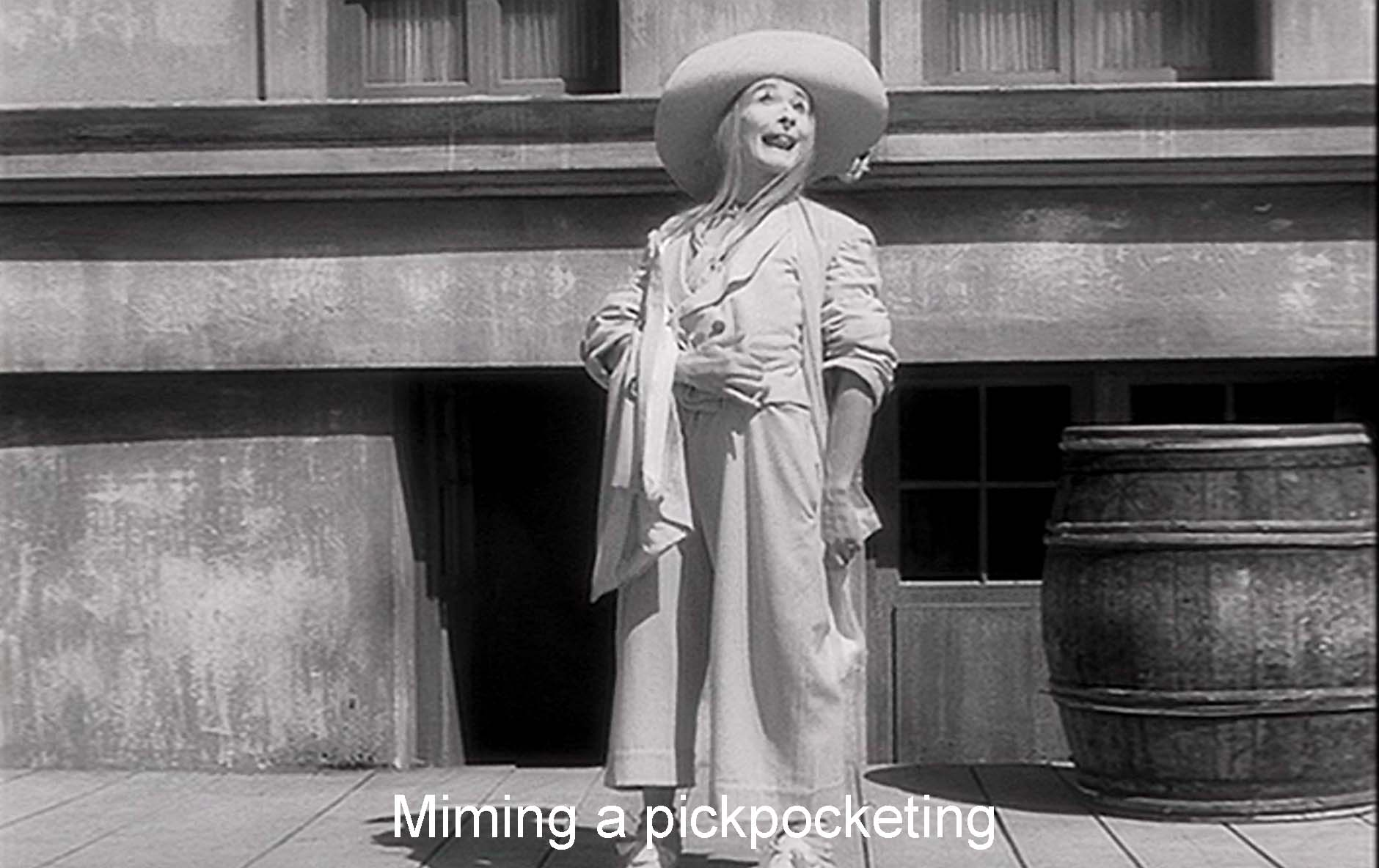 Miming a pickpocketing