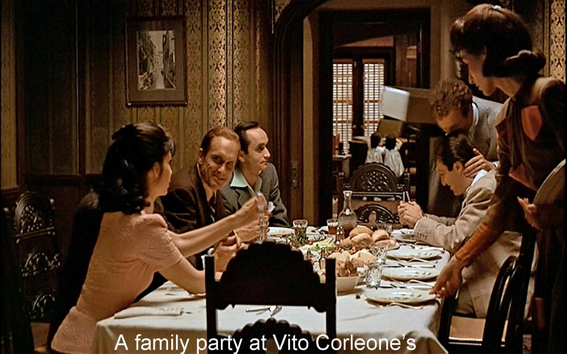 A family party at Vito Corleone's