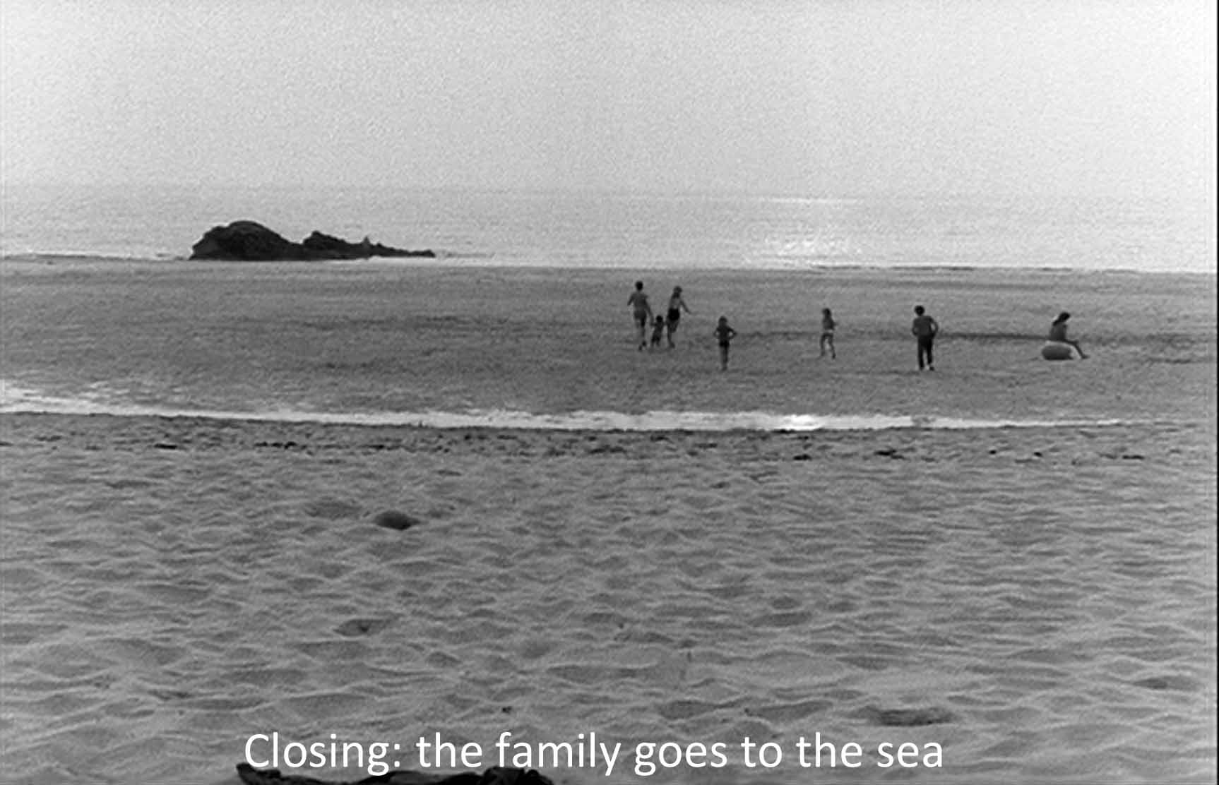 Closing: the family runs to the sea