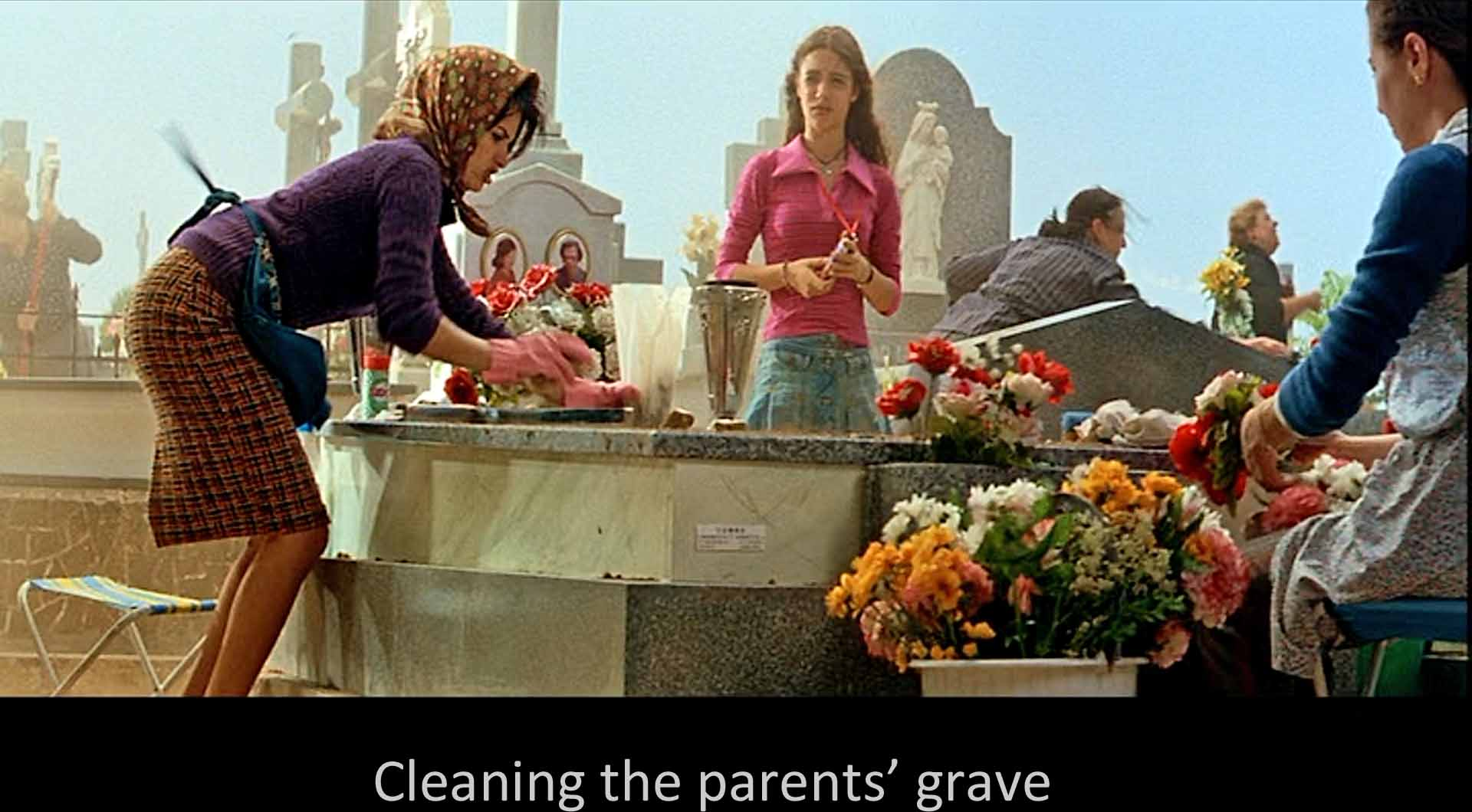 Cleaning the parents' grave