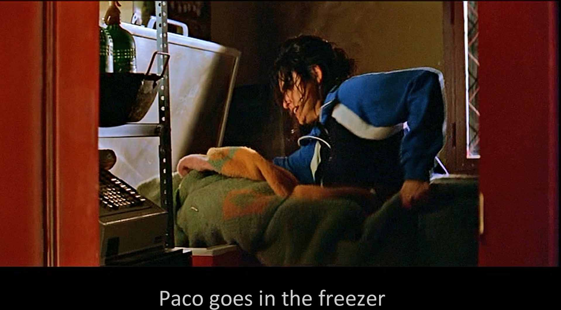Paco goes in the freezer
